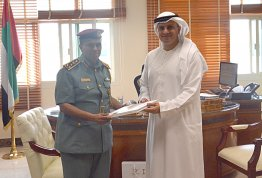 The Director of Al Ain Police Directorate meets the AAU Chancellor
