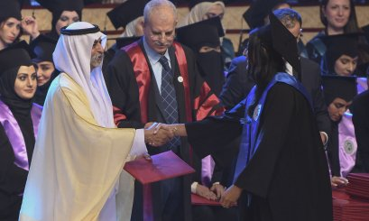 Nahyan Bin Mubarak attends the Year of Zayed batch graduation at AAU
